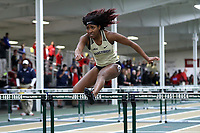 WINSTON-SALEM, NC - FEBRUARY 07: Brionne Pyles #3 of Wake Forest University competes in the Women's 60m Hurdles at JDL Fast Track on February 07, 2020 in Winston-Salem, North Carolina.