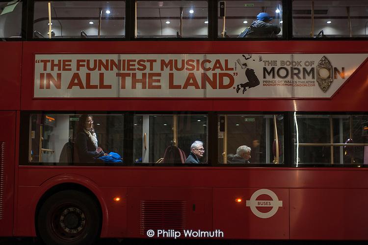Elderly man on a London night bus.