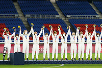 YOKOHAMA, JAPAN - AUGUST 6: Team United States celebrates their bronze medal win after a game between Canada and Sweden at International Stadium Yokohama on August 6, 2021 in Yokohama, Japan.