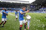 15.05.2021 Rangers v Aberdeen: Glen Kamara soaks James Tavernier in champagne
