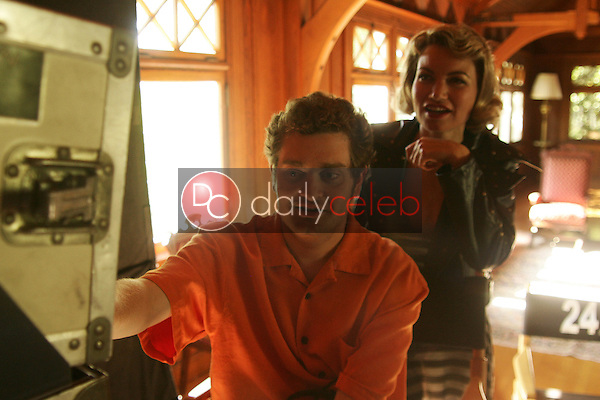 """Rena Riffel and Director Josh Eisenstadt<br />on the set of the upcoming feature film """"Dark Reel"""" slated for June 2007 release. Private Location, Altadena, CA. 11-15-06<br />Dave Edwards/DailyCeleb.com 818-249-4998<br />Exclusive"""