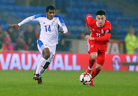 (R) Jose Gonzalez of Panama chasing Tom Lawrence of Wales during the international friendly soccer match between Wales and Panama at Cardiff City Stadium, Cardiff, Wales, UK. Tuesday 14 November 2017.