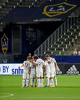 CARSON, CA - SEPTEMBER 19: Los Angeles Galaxy huddle during a game between Colorado Rapids and Los Angeles Galaxy at Dignity Heath Sports Park on September 19, 2020 in Carson, California.