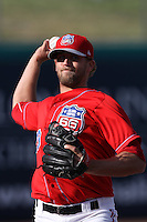 Ryan Chaffee #29 of the Inland Empire 66'ers warms up in the bullpen during a game against the High Desert Mavericks at San Manuel Stadium on April 29, 2012 in San Bernardino,California. Inland Empire defeated High Desert 3-0.(Larry Goren/Four Seam Images)