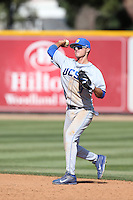 Woody Woodward (9) of the UC Santa Barbara Gouchos makes a throw during a game against the Cal State Northridge Matadors at Matador Field on April 10, 2015 in Northridge, California. UC Santa Barbara defeated Cal State Northridge, 7-4. (Larry Goren/Four Seam Images)