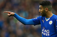 Riyad Mahrez of Leicester City makes a point during the Barclays Premier League match between Leicester City and Swansea City played at The King Power Stadium, Leicester on 24th April 2016