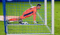 CARSON, CA - OCTOBER 18: Jonathan Klinsmann #33 GK of Los Angeles Galaxy stretching before start of the second half during a game between Vancouver Whitecaps and Los Angeles Galaxy at Dignity Heath Sports Park on October 18, 2020 in Carson, California.