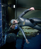The first Norwegian freediving championship, held in Askinm, Norway..Elisabeth Kristoffersen doing static apnea 4 min 03 seconds. © Fredrik Naumann/Felix Features