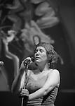 Mexican jazz singer Iraida Noriega sings during a jazz session along with jazz musician Alex Otaola at Mexico City's Fundacion Sebastian's auditorium, March 25, 2011. Photo by Heriberto Rodriguez