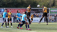 George Elokobi of Maidstone United heads the ball towards the Eastbourne Borough goal during Maidstone United vs Eastbourne Borough, Vanarama National League South Football at the Gallagher Stadium on 9th October 2021