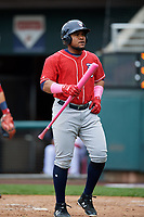 New Hampshire Fisher Cats first baseman Juan Kelly (25) at bat during the first game of a doubleheader against the Harrisburg Senators on May 13, 2018 at FNB Field in Harrisburg, Pennsylvania.  New Hampshire defeated Harrisburg 6-1.  (Mike Janes/Four Seam Images)