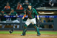 Miami Hurricanes catcher Joe Gomez (40) on defense against the North Carolina Tar Heels in the second semifinal of the 2017 ACC Baseball Championship at Louisville Slugger Field on May 27, 2017 in Louisville, Kentucky. The Tar Heels defeated the Hurricanes 12-4. (Brian Westerholt/Four Seam Images)