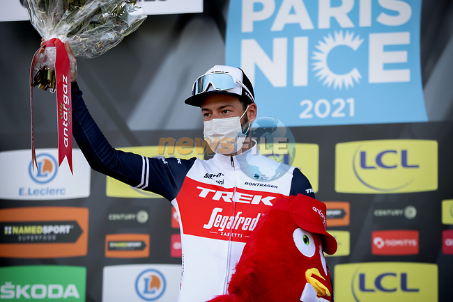 Julian Bernard (FRA) Trek-Segafredo wins the day's combativity prize at the end of Stage 4 of Paris-Nice 2021, running 187.5km from Chalon-sur-Saone to Chiroubles, France. 10th March 2021.<br /> Picture: ASO/Fabien Boukla | Cyclefile<br /> <br /> All photos usage must carry mandatory copyright credit (© Cyclefile | ASO/Fabien Boukla)