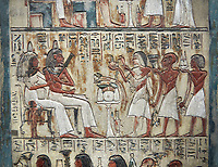 Ancient Egyptian funerary stele of painter Maya, limestone, New Kingdom, 18th Dynasty, (1336-1292 BC), Deir el-Medina,  Egyptian Museum, Turin. Drovetti cat 1579.<br /> <br /> <br /> In the upper portion Maya and his wife Tamit pay homage to Osiris and Hathor, the gods of the necropolis. In the lower register is a similar scene in which his wife recieves food offerings from their many children, as was traditional at the time.