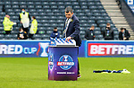 Livingston v St Johnstone …28.02.21   Hampden   BetFred Cup Final<br />No presentation ceremony as manager Callum Davidson collects his medal after winning the BETFRED Cup<br />Picture by Graeme Hart.<br />Copyright Perthshire Picture Agency<br />Tel: 01738 623350  Mobile: 07990 594431