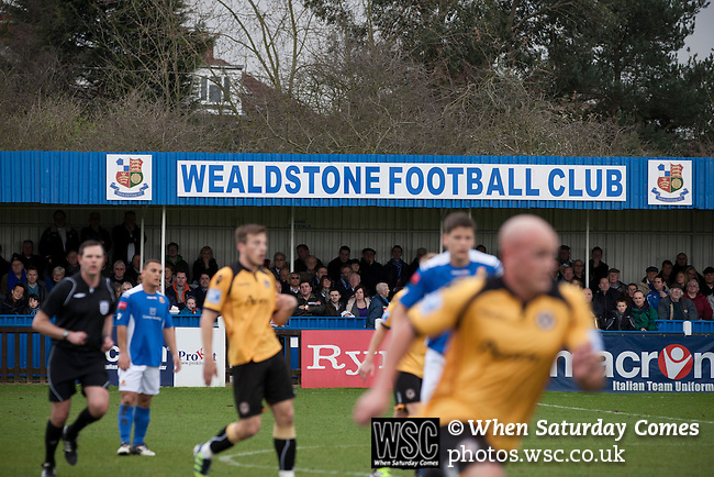 Wealdstone 0 Newport County 0, 17/03/2012. St Georges Stadium, FA Trophy Semi Final. Spectators watching the action at St Georges Stadium, home ground of Wealdstone FC, as the club played host to Newport County (yellow) in the semi-final second leg of the F.A. Trophy. The game ended in a goalless draw, watched by a capacity crowd of 2,092 which meant the visitors from Wales progressed by three goals to one to the competition's final at Wembley, where they would meet York City. The F.A. Trophy was the premier cup competition for non-League clubs in England and Wales affiliated to the Football Association. Photo by Colin McPherson.
