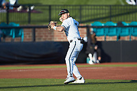 Coastal Carolina Chanticleers third baseman Cooper Weiss (7) on defense against the Davidson Wildcats at Springs Brooks Stadium on March 5, 2021 in Conway, South Carolina. The Chanticleers defeated the Wildcats 15-5. (Brian Westerholt/Four Seam Images)