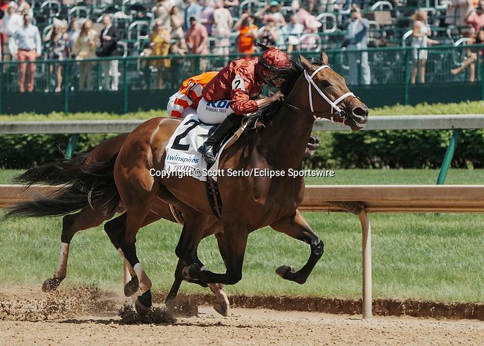 April 30, 2021 : Shedaresthedevil, #2, ridden by jockey Florent Geroux wins the La Troienne Stakes on Kentucky Oaks Day at Churchill Downs on April 30, 2021 in Louisville, Kentucky. Scott Serio/Eclipse Sportswire/CSM