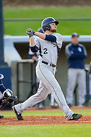 Stryker Brown (2) of the Georgia Southern Eagles follows through on his swing against the UNCG Spartans at UNCG Baseball Stadium on March 29, 2013 in Greensboro, North Carolina.  The Spartans defeated the Eagles 5-4.  (Brian Westerholt/Four Seam Images)