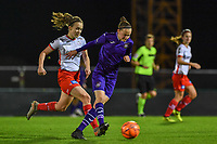 Elke Van Gorp  (7) of Anderlecht pictured with defending Geena Lisa Buyle (13) of Zulte-Waregem during a female soccer game between RSC Anderlecht Dames and SV Zulte Waregem on the 10 th matchday of the 2020 - 2021 season of Belgian Womens Super League , friday 18 th of December 2020  in Tubize , Belgium . PHOTO SPORTPIX.BE | SPP | DAVID CATRY