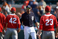 Detroit Tigers center fielder Wynton Bernard (63) shakes hands after an exhibition game against the Florida Southern Moccasins on February 29, 2016 at Joker Marchant Stadium in Lakeland, Florida.  Detroit defeated Florida Southern 7-2.  (Mike Janes/Four Seam Images)