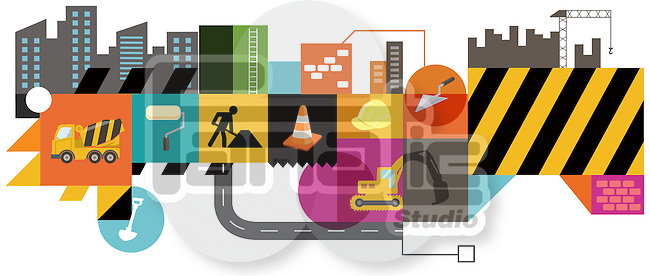 Illustrative image of construction collage