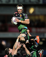 Kai Horstmann of Exeter Chiefs secures a lineout ball  during the European Rugby Challenge Cup semi final match between Gloucester Rugby and Exeter Chiefs at Kingsholm Stadium on Saturday 18th April 2015 (Photo by Rob Munro)