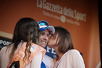 podium kisses for race winner Arnaud Démare (FRA/FDJ) after winning the 107th Milano-Sanremo (2016)