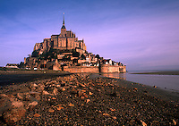 Twilight landscape of Le Mont St. Michel Fortress. Normandy, France.