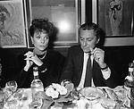 ELSA MARTINELLI E ROBERTO GANCIA<br /> FESTA DELLO STILISTA MIGUEL CRUZ A LA TAMPA MILANO 1987