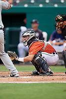 Lakeland Flying Tigers catcher Brady Policelli awaits the pitch during the second game of a doubleheader against the St. Lucie Mets on June 10, 2017 at Joker Marchant Stadium in Lakeland, Florida.  Lakeland defeated St. Lucie 9-1.  (Mike Janes/Four Seam Images)