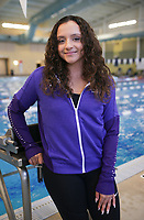 Fayetteville's Alyssa Alberson stands for a portrait, Thursday, April 15, 2021 at the Bentonville Community Center in Bentonville. Check out nwaonline.com/210415Daily/ for today's photo gallery. <br /> (NWA Democrat-Gazette/Charlie Kaijo)