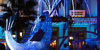 Monte Carlo Casino resort fish fountain details, decorated and lit-up at night for Christmas, in Monaco French Riviera (Côte d'Azur) France Europe