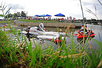 Jul. 19, 2009; Augusta, GA, USA; IHBA top fuel hydro driver Ron McLellan is towed to the starting line for the final round during the Augusta Southern Nationals on the Savannah River. Mandatory Credit: Mark J. Rebilas-