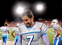 Oct. 8, 2009; Las Vegas, NV, USA; Las Vegas Locomotives quarterback (7) J.P. Losman against the California Redwoods during the inaugural United Football League game at Sam Boyd Stadium. Las Vegas defeated California 30-17. Mandatory Credit: Mark J. Rebilas-
