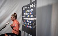 Fresh World Champion Ellen van Dijk (NED/Trek-Segafredo) in her post-race flash interview<br /> <br /> Women Elite Individual Time Trial from Knokke-Heist to Bruges (30.3 km)<br /> <br /> UCI Road World Championships - Flanders Belgium 2021<br /> <br /> ©kramon