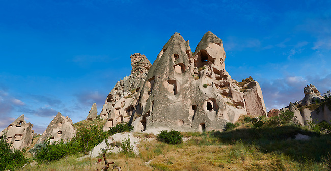 Pictures & images of the cave city houses in the rock formations & fairy chimney of Uchisar, near Goreme, Cappadocia, Nevsehir, Turkey