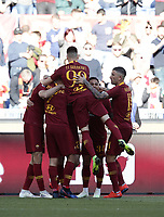 Football, Serie A: AS Roma - Cagliari, Olympic stadium, Rome, April 27, 2019. <br /> Roma's Federico Fazio (l) celebrates after scoring with his teammates during the Italian Serie A football match between AS Roma and Cagliari, on April 27, 2019. <br /> UPDATE IMAGES PRESS/Isabella Bonotto