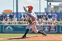 Mickey Janis (7) of the Binghamton Rumble Ponies delivers a pitch during a game against the Hartford Yard Goats at Dunkin Donuts Park on May 9, 2018 in Hartford, Connecticut. (Gregory Vasil/Four Seam Images)