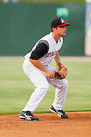 Shortstop Kyle Eveland #6 of the Kannapolis Intimidators on defense against the Delmarva Shorebirds at Fieldcrest Cannon Stadium on May 21, 2011 in Kannapolis, North Carolina.   Photo by Brian Westerholt / Four Seam Images