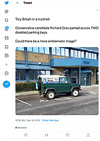 BNPS.co.uk (01202 558833)<br /> Pic: BNPS<br /> <br /> PICTURED (WITH PRERMISSION FROM PHOTOGRAPHER): A Tory MP hopeful has apologised after being photographed parking across two disabled parking spaces.