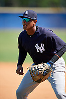 New York Yankees Carlos Tatis (19) during practice before a Minor League Spring Training game against the Toronto Blue Jays on March 18, 2018 at Englebert Complex in Dunedin, Florida.  (Mike Janes/Four Seam Images)