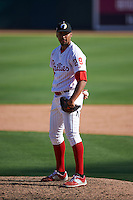 Glendale Desert Dogs pitcher Jesen Therrien (29) during an Arizona Fall League game against the Mesa Solar Sox on October 13, 2015 at Camelback Ranch in Glendale, Arizona.  Glendale defeated Mesa 8-7.  (Mike Janes/Four Seam Images)