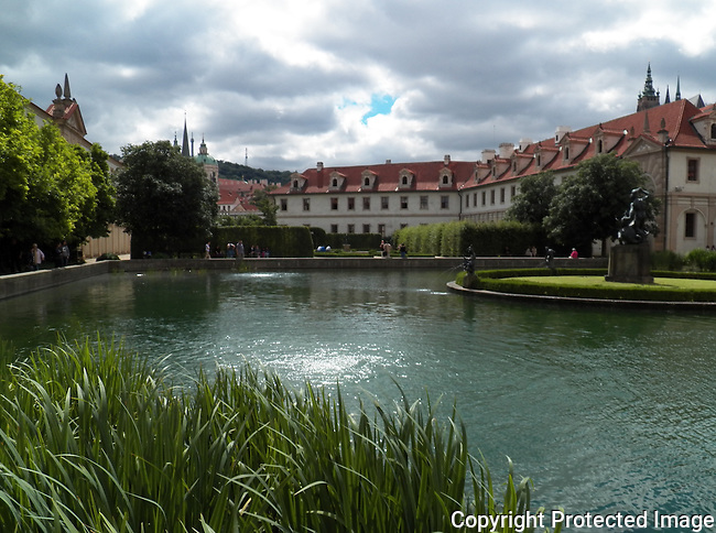 Wallenstein Garden<br /> The palace complex, including the garden, was built in the years 1623 - 1630.  A part of the garden is reserved for an artificial pond with an island, upon which there is a copy of a marble fountain with statues of Hercules and the Nayades by Adriaen de Vries.