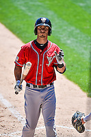 Tommy Medica (24) of the El Paso Chihuahuas during the game against the Salt Lake Bees in Pacific Coast League action at Smith's Ballpark on July 26, 2015 in Salt Lake City, Utah. El Paso defeated Salt Lake 6-3 in 10 innings. (Stephen Smith/Four Seam Images)