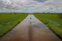 Flooding on the road into Karumba AU. The wet season runs from November to April in Northern Australia.