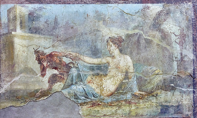 Pan and  Hermaphrodite, a Roman erotic fresco painting from Pompeii, 50-79 AD , inv no 27700 , Naples National Secret Museum or Secret Cabinet, Archaeological Museum