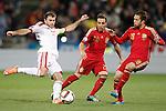 Spain's Santi Cazorla (c) and Jordi Alba (r) and Belarus' Timofei Kalachev during 15th UEFA European Championship Qualifying Round match. November 15,2014.(ALTERPHOTOS/Acero)