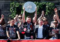 Duesseldorf, Germany, 2. Bundesliga, promotion to 1. Bundesliga of  Fortuna Duesseldorf, team celebrates at Rathausmarkt of Duesseldorf, 14.05.2018<br /> Oliver FINK (F95) *** Local Caption *** © pixathlon<br /> Contact: +49-40-22 63 02 60 , info@pixathlon.de