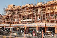 Jaipur, Rajasthan, India.  Bamboo Scaffolding on a Building undergoing  Refurbishment.